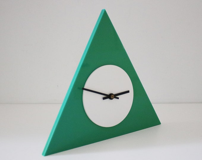 Keinzle quartz post modern modernist acrylic / perspex mantle clock - geometric triangular 80s 90s