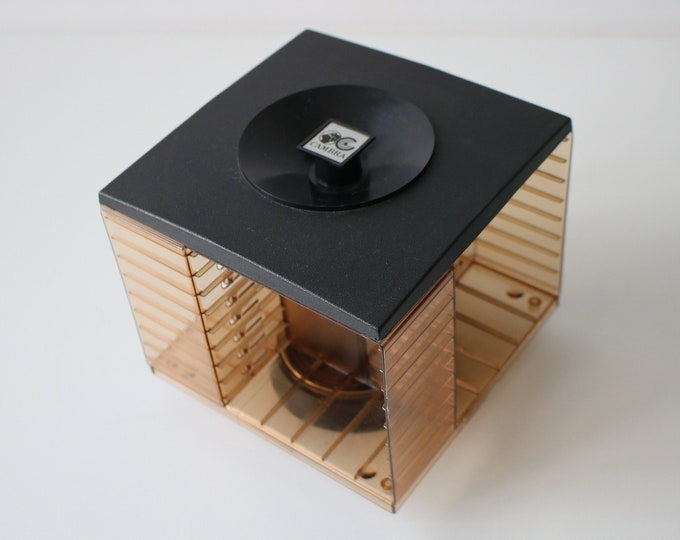 1970s revolving plastic cassette tape storage by Cambra - black and smoked brown