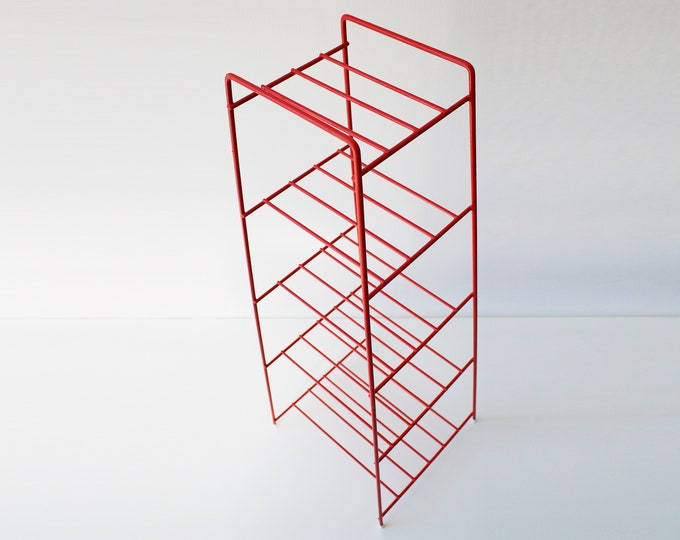 70s 80s red coated wire 5 tier pot / saucepan / frying pan stand