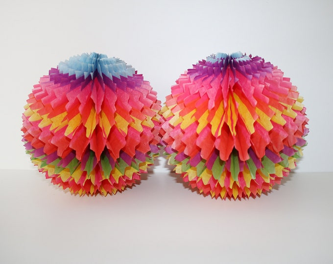 Pair of paper Christmas decorations by Paul Jones (pair) honeycomb tissue baubles 1960s 1970s rainbow