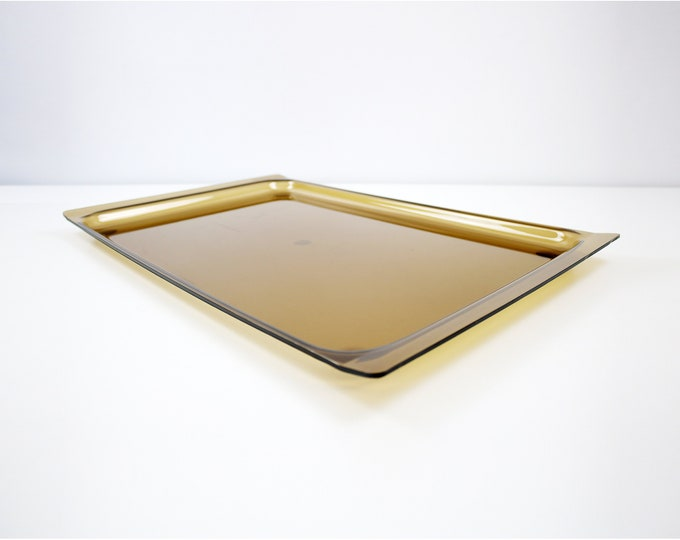1970s smoked acrylic tray by Guzzini Italy - brown tinted lucite plexiglass
