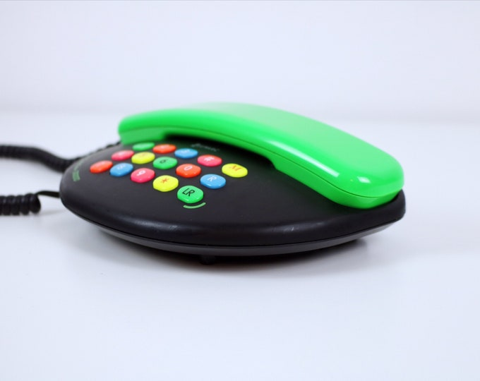1980s Geemarc Florenteen Limited Edition 3000 telephone - neon/bright coloured buttons, green and black