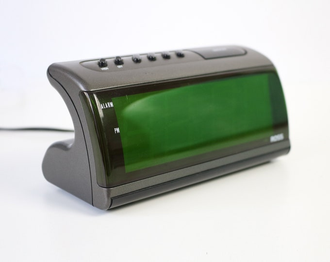 80s 90s modernist digital alarm clock by Ross - graphite grey