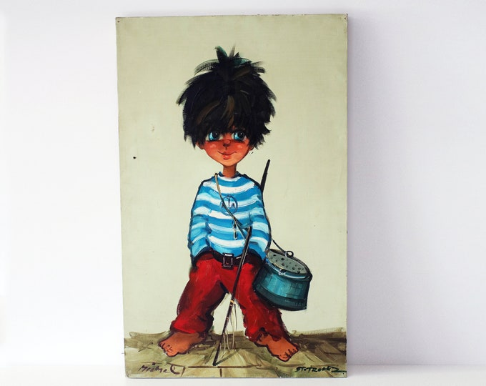 1960s / 70s original oil painting by French artist Michel T / Thomas - Little Fisherman - big eyed children - oil on canvas