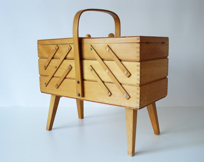 1980s wooden cantilever sewing box jewellery make-up storage on sputnik atomic legs