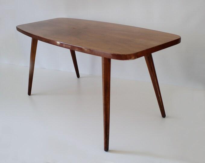 Stunning high gloss walnut veneer coffee table with atomic legs - mid century - symmetry pattern