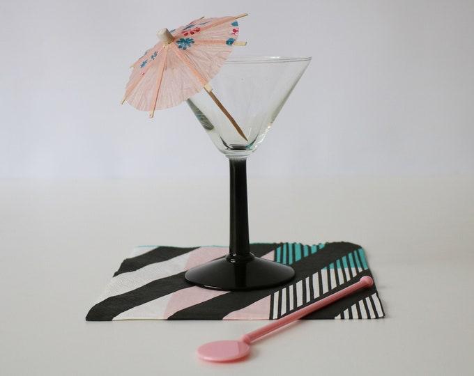 Set of 4 1980s black stemmed cocktail / martini glasses / sundae dishes