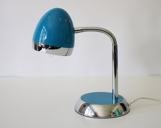 Woolworths 'retro' desk lamp - 50s revival bullet / headlamp chrome and blue enamel gooseneck light