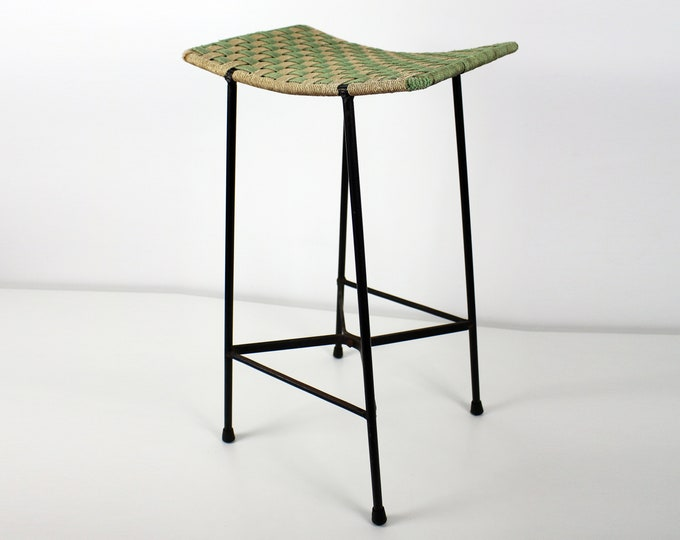 Mid century woven string and black metal tall stool /seat / plant stand - atomic 1950s