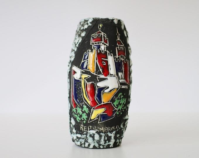 Mid century Italian textured rock glaze vase by Libertas - Rep. San Marino - smalto roccia 1960s