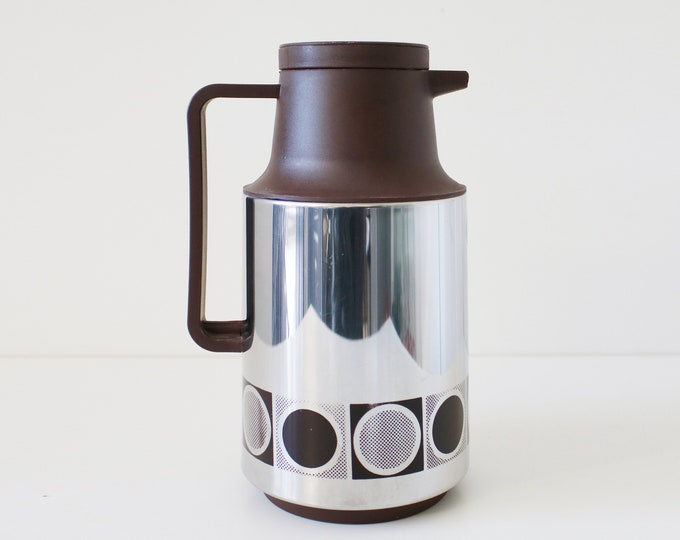 1970s modernist stainless steel and brown plastic vacuum flask / jug