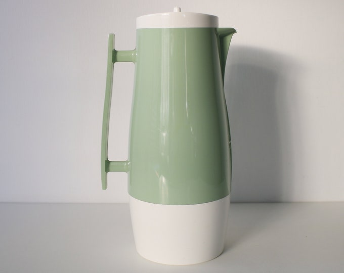 Mid Century Aladdin Thermos jug beverage butler retro green plastic flask