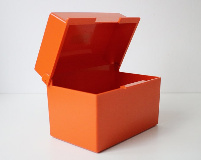 Vintage orange plastic card index filing box by Bantex complete with (used) dividers and new cards
