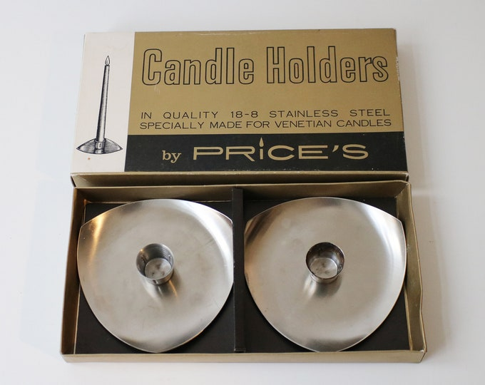 Pair of 70s stainless steel modernist candle holders by Price - boxed - for larger candles