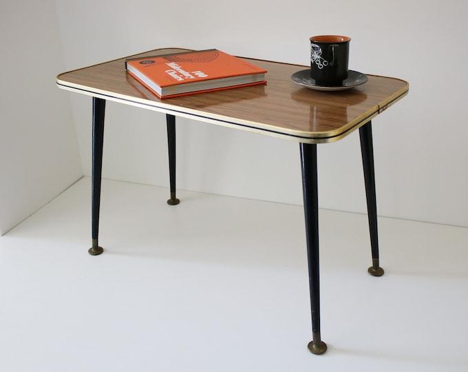 Mid century teak effect laminate side / coffee table with dansette legs - atomic sputnik