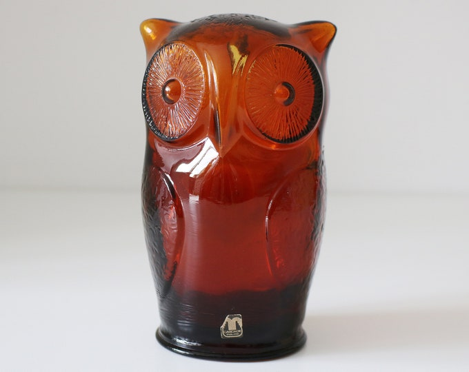Cascade 1960s 70s amber glass owl money box savings bank