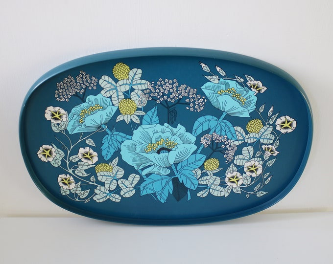 St Michael (M&S) 1970s large flower power blue poppy cornflower tray - laminated