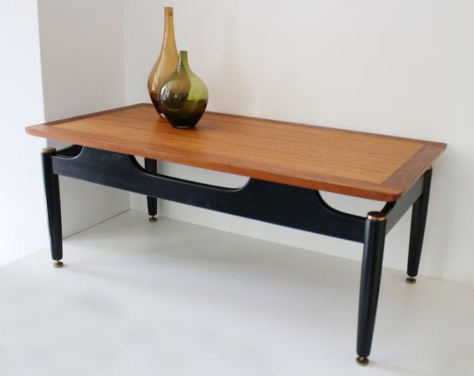 G Plan coffee table - teak/ tola / ebonised legs with gilt