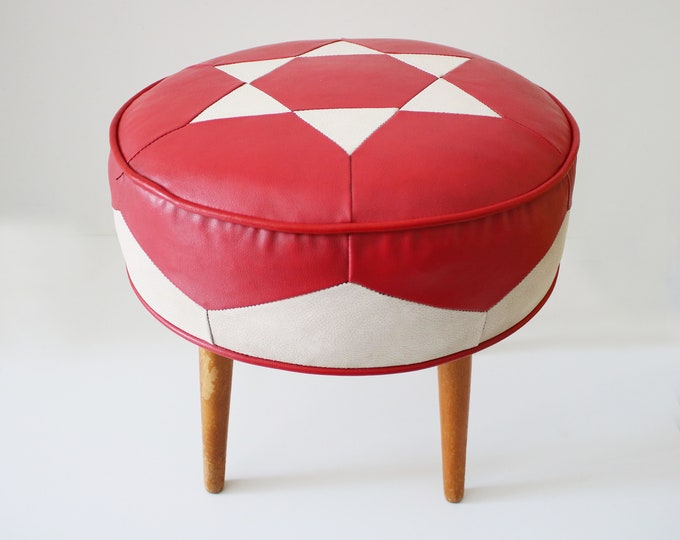 1950s 60s vinyl pouffe / stool on tapered teak legs - atomic legs star design red and cream