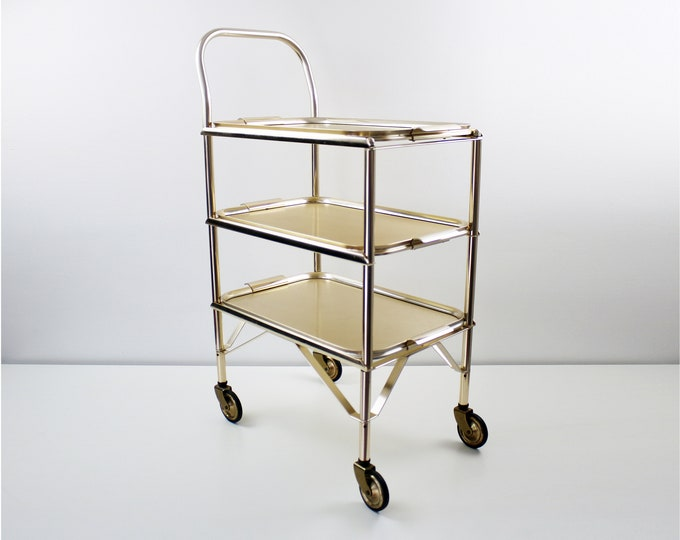 1960s 70s drinks trolley / bar cart in gold metal with 3 anodised aluminium lift off / removable trays