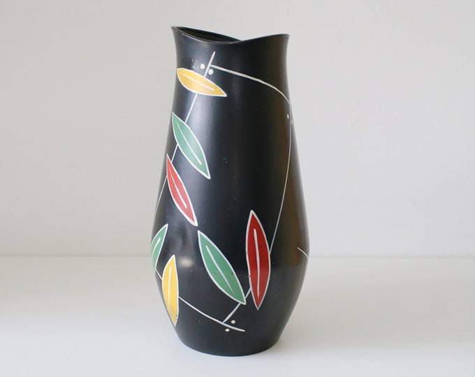 1950s large atomic mid century floor vase - hand painted - Salisbury by Brentleigh Ware England