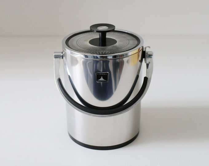 1970s Everest Icejar thermally insulated ice bucket with Conrah style lid - heavy chrome and black plastic