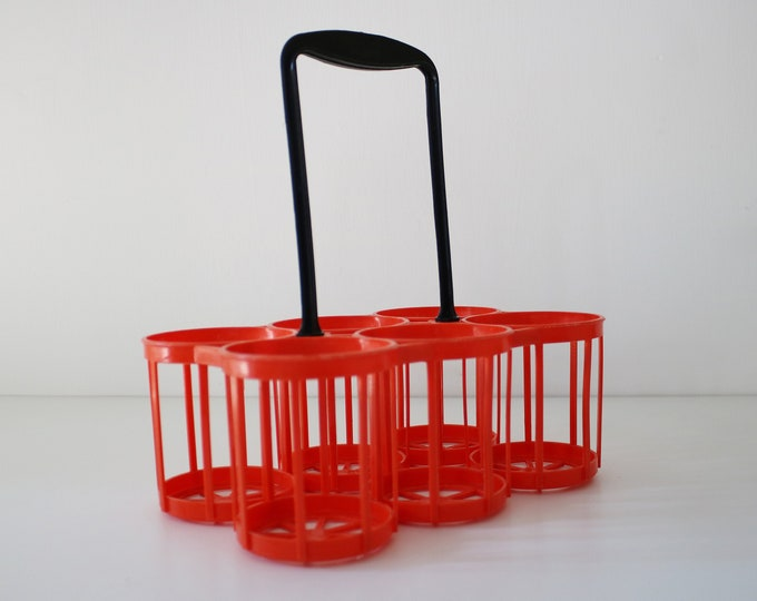 1960s plastic can / canned drink / bottle carrier / holder French orange and black