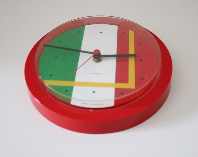 Retro 80s 90s wall clock in red with block colour and yellow lines - Italian flag plus - Made in Britain