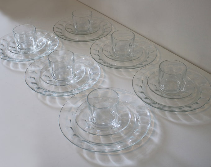 18 piece 1970s dimple glass tea set - cups, saucers, plates - for retro afternoon crumpets and tea - by Arcoroc France
