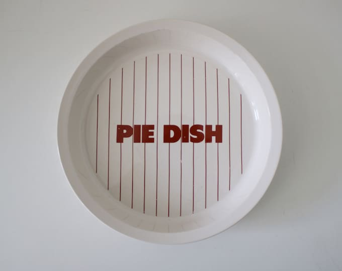 Rare 1980s Hornsea stripe pie dish - dark reddish brown and white