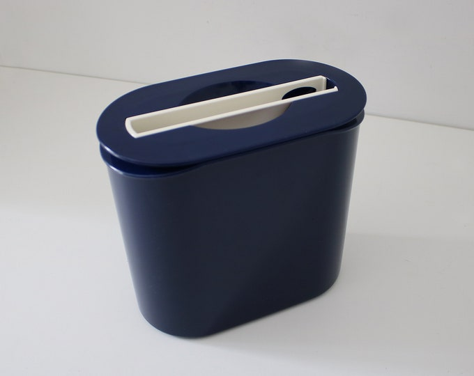 80s 90s modernist oval ice bucket in navy blue with white tongs by Tupperware Preludio range