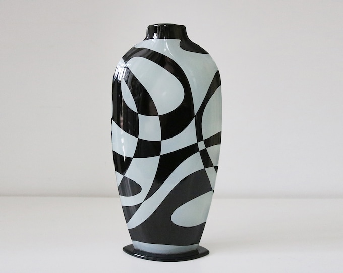 90s abstract geometric black & white eliptical glass vase - with side seams and foot - op art