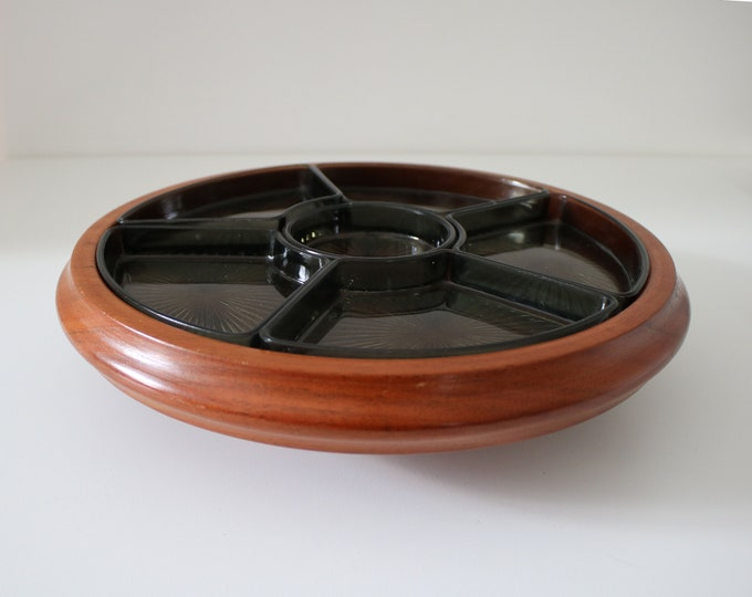 Teak and smoked glass Lazy Susan / chip n dip revolving serving tray mid century 1960s