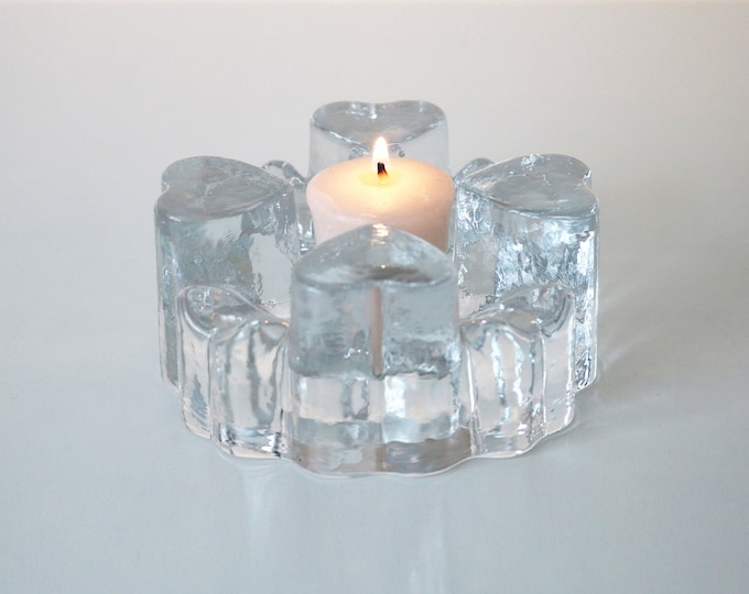 1970s 1980s Georgshutte lead crystal pot warmer / candle or tealight holder / votive