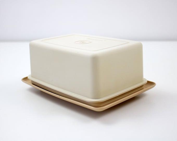 Tupperware butter dish in cream and beige