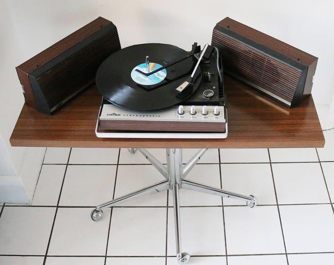 German mid century teak veneer media tv hifi tea trolley table on chrome pedestal and castors.