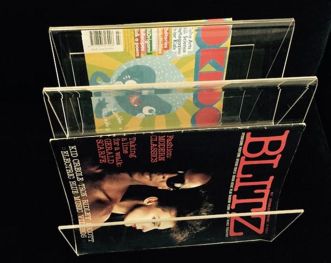 70s Lucite modernist magazine rack