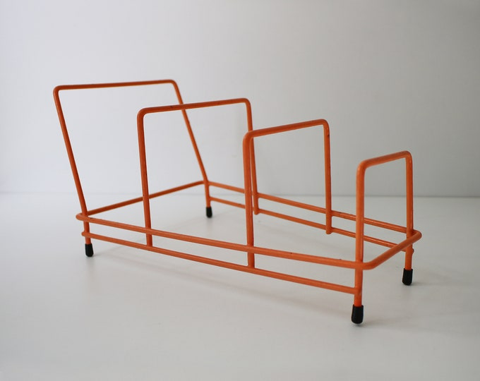 1960s 70s atomic orange plastic coated wire plate rack with black feet