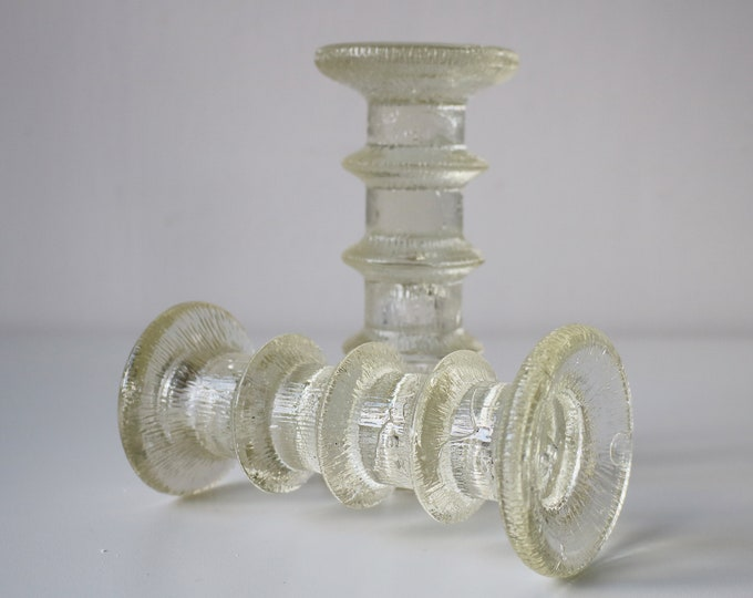 Pair of 1970s ice glass hooped candlesticks - similar in style to Iittalla Festivo candle holders