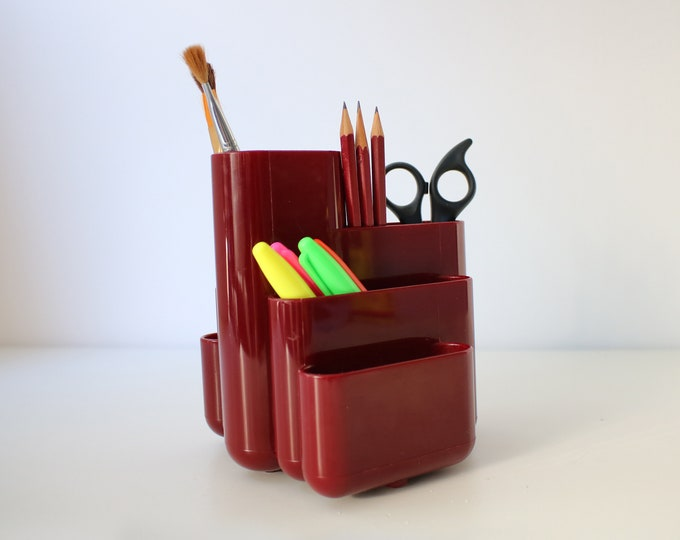 90s desk tidy by Tenex USA - moulded plastic - modernist pen pot / organiser in cherry red / maroon