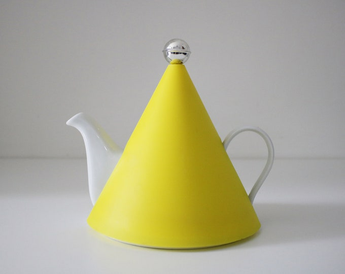1980s /90s Memphis inspired Italian teapot - ceramic with yellow plastic conical cover