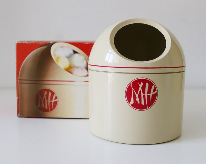 1970s Makio Hasuike for Avon plastic cotton ball container - bathroom set Gedy in original box