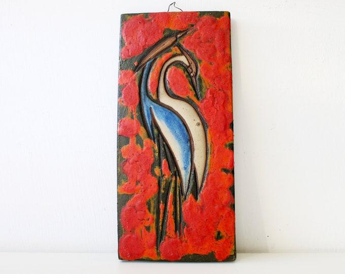 1960s Ruscha fat lava heavy ceramic wall tile / plaque stork heron ibis Keramik Vulkano