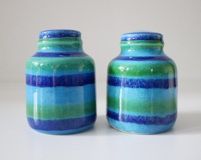 1960s Baldelli Italian ceramic cruet set - salt and pepper - blue green glaze marked Baldelli Italy