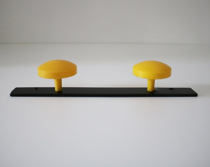 1960s French atomic metal and plastic double coat hook - yellow and black