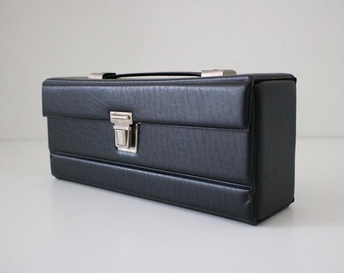 70s 80s black vinyl cassette carry case - cosmetics, makeup,