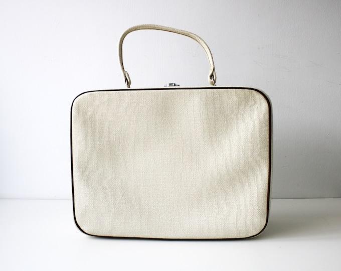 1960s vanity case cream with brown trim - makeup, jewellery, wedding, letters storage. Cabin bag, weekend case