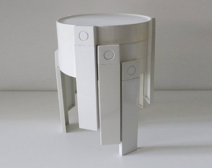 1970s space age modernist plastic stacking tables - nest of 3 white - made in Holland by Flair