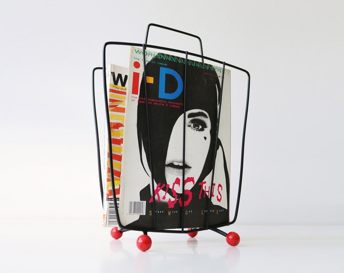 Mid century atomic magazine rack - curved version with wooden bobbles - red and black