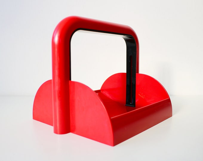 Retro napkin serviette holder by Furio Minuti for Guzzini Italy red and black plastic